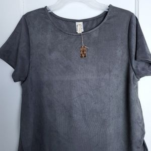 Wish list Grey Top short sleeve side slits